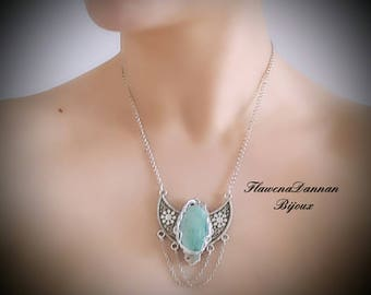 Moonstone and green amazonite wire wrapped necklace