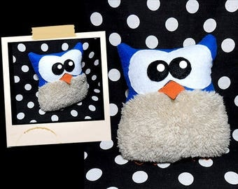 Plush OWL blue and beige soft APLUCHES