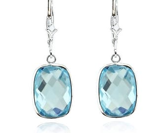 14K White Gold Handmade Gemstone Earrings With Dangling Cushion Shape Blue Topaz