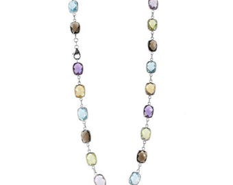 14K White Gold Station Necklace With Cushion Cut Gemstones 18 Inches