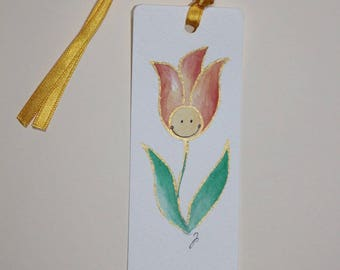Orange tulip gift gift tag or bookmark