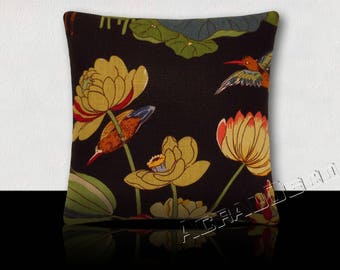 Gift for new year Chinese/Valentine - design pillow Navy lilies/bird water-blue/green/pink/paprika/red.