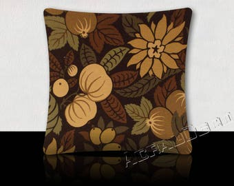 Pillow pattern design tropical fruits and flowers-coffee/tobacco/taupe/green/olive green khaki on chocolate background.