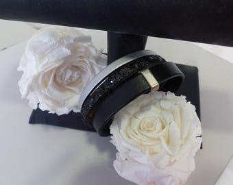 gray black leather magnetic bracelet