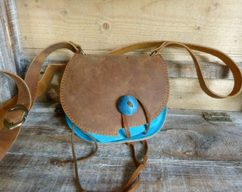 "Turquoise and ""aged"" Brown purse bag"