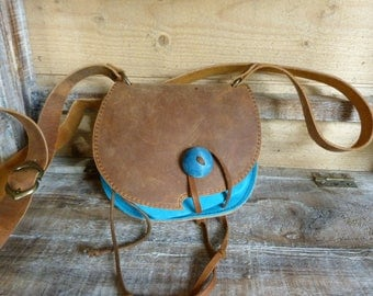 """Turquoise and """"aged"""" Brown purse bag"""