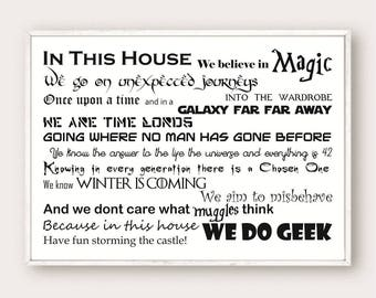 In This House We Do Geek Printable, Wall Art, Home Decoration,SVG, PNG, JPEG Instant download