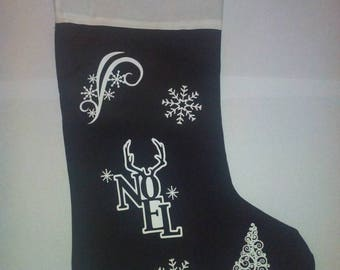 Boot Christmas black with white pattern