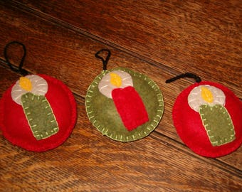 Three (3) felt Christmas Ornaments