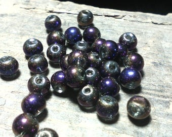 ☆ Set of 30 electroplate/4 mm/Purple/1 mm☆ hole glass beads