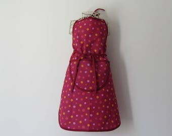Apron in cotton with multicolored dots