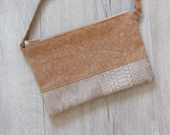 Cork and faux Tan Leather Pouch