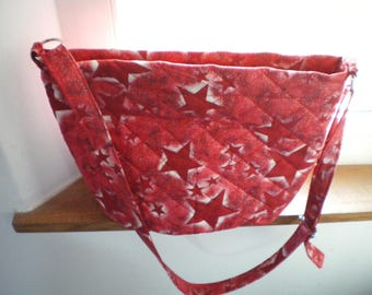 Small starry red fabric shoulder bag