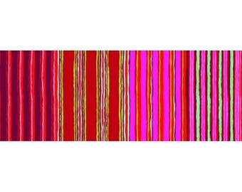 patchwork fabric kaffe fasset stripes in shades of red, pink, purple 163REDXX