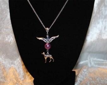 neck with Greyhound charm chain