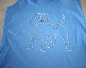 beagle rhinestone tank top t-shirt
