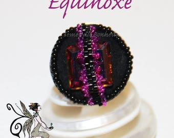 """Ring Crystal, seed beads and suede """"Equinox"""""""