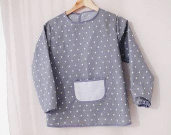 Child apron/blouse gray stars white to paint