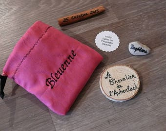Original invitation for weddings and baptisms: pouches containing clues treasures! customizable