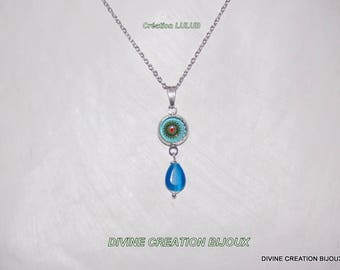 """Jewelery including necklace and earrings Blue style """"Mandala"""""""