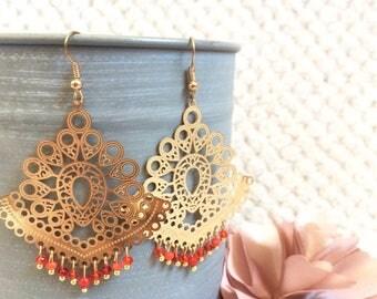 Oriental style gold earrings