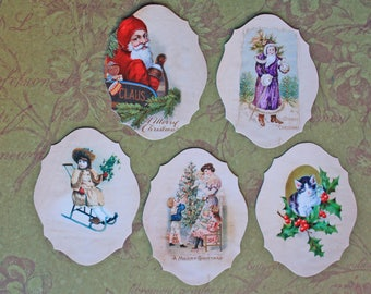 Set of 5 large images Victorian vintage theme Christmas paper finish shiny