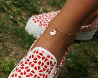 Hand-made Gold Bunny Anklet / Gold Anklet Available in 14k Gold, White Gold or Rose Gold