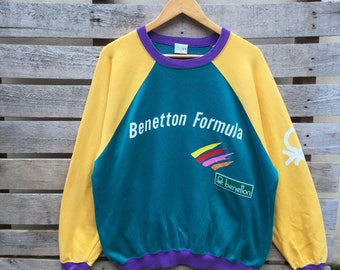 Vintage Benetton Sweatshirt Big Spell Jumper Pullover OG Colour 90s Rare Item