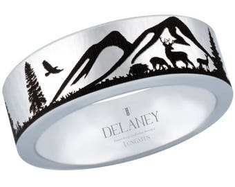 Mountain Range with Deer, Bird and Trees Tungsten Ring Made In USA