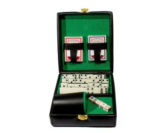 Deluxe Set 3 Games: Dominó, Dice Cup, 2 Poker Cards. Black - Green