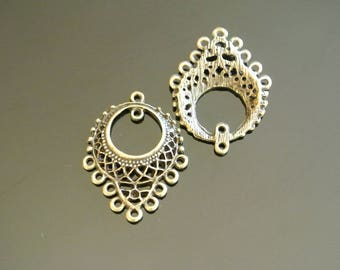 Set of 4 connectors for earrings, geometric patterns, 33 x 25 x 3 mm, 9 hole plus 1 metal color bronze