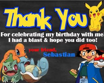 Pokemon Birthday Thank you card