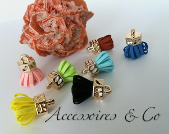 Set of 7 pom poms tassel suede of 2.5 cm (black, blue, yellow, Burgundy, pink and green