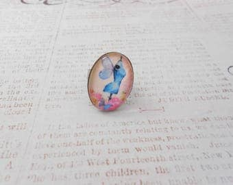 ring adjustable winged bust, metal, retro, vintage