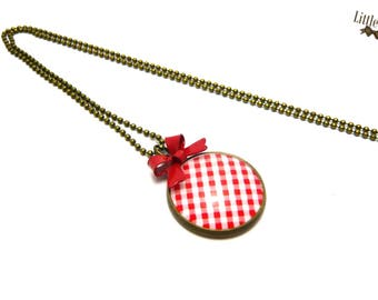 Long red gingham bow retro glass dome