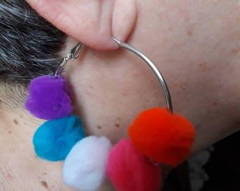 Earrings-rings-colorful pom poms