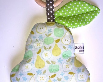 Pear Rattle with teething ring