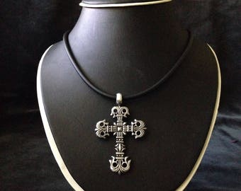 Pewter Cross or Dragon Medallion Pendants