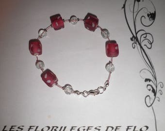 00674 bracelet glass Pearl and pink dice