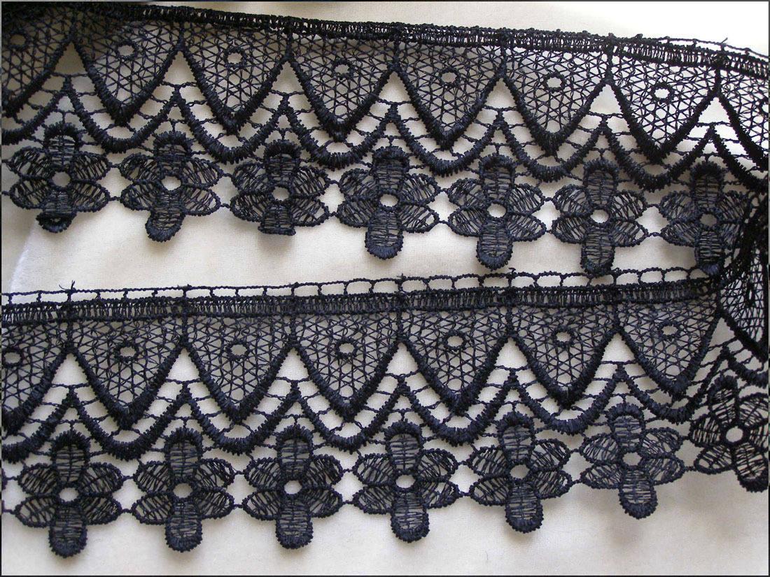 Dentelle de venise noire au m tre en 65 cm motif rosaces sur for Guipure noire au metre