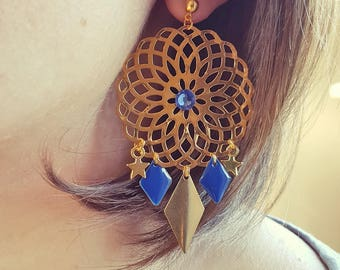 Earrings Royal Blue and gold (pierced)