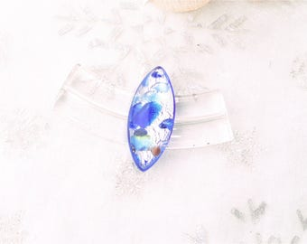 oval, blue and silver Murano glass cabochon