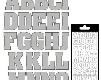 XL - matte - STI12461 silver Alphabet sticker
