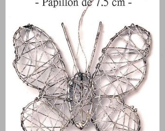 1 attractive Butterfly wire silver 7.5 cm - new