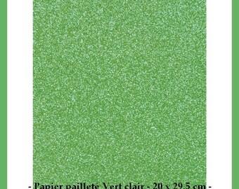 Paper glitter green light Scrapbooking - 20 x 29.5 cm - new