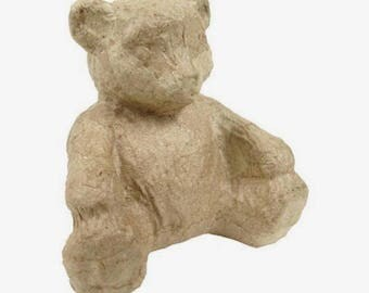 Little bear sitting in paper mache 10 cm, to decorate on your theme!
