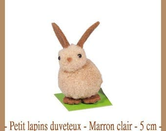 X 1 Bunny fluffy - light brown - 5 cm - new