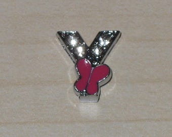 Letter are sliding Rhinestones, silver metal Butterfly bead