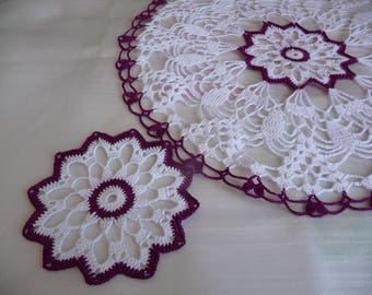 beautiful set crochet handmade of coasters and doily white and Burgundy