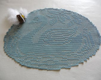 Handmade majestic Swan blue cotton crochet lace doily.